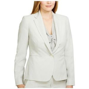 Lauren by Ralph Lauren Gray Silk-Linen Jacket